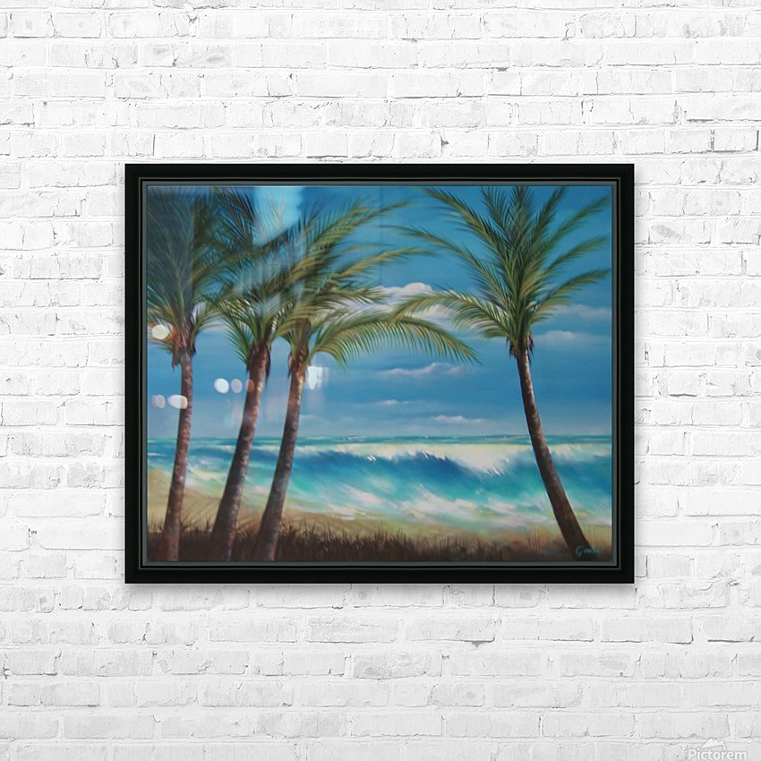 windy beach HD Sublimation Metal print with Decorating Float Frame (BOX)