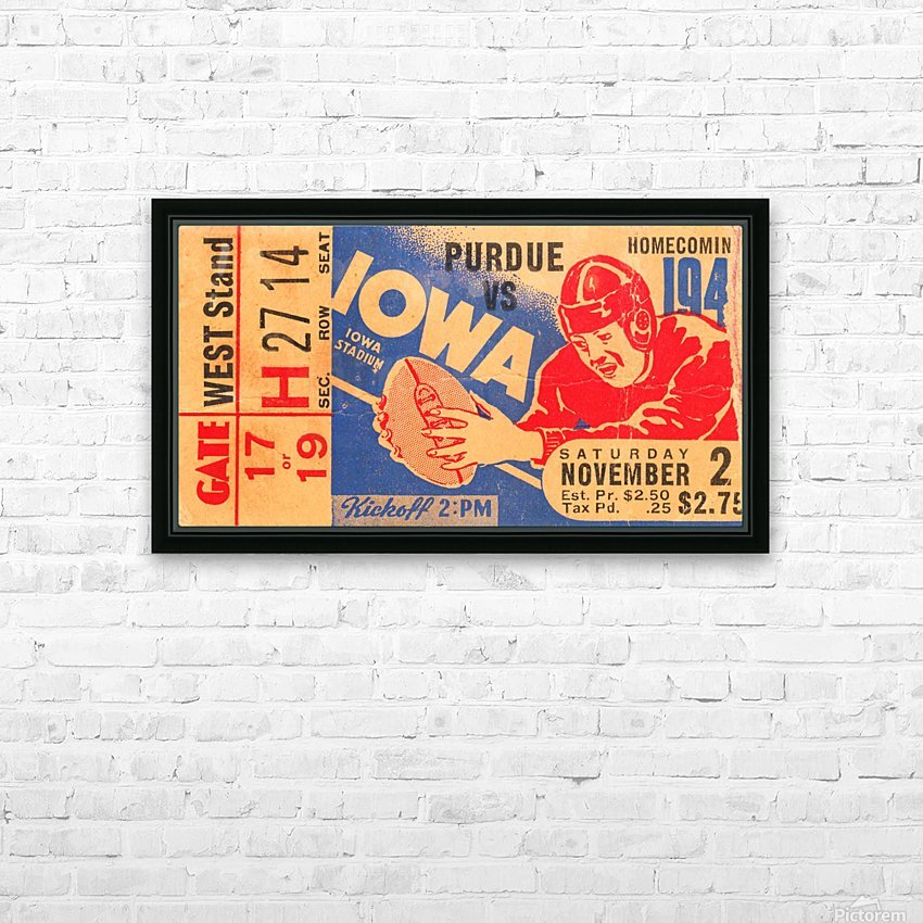 1940 Iowa vs. Purdue HD Sublimation Metal print with Decorating Float Frame (BOX)