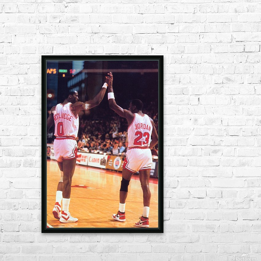 1985 Bulls High 5 Poster HD Sublimation Metal print with Decorating Float Frame (BOX)