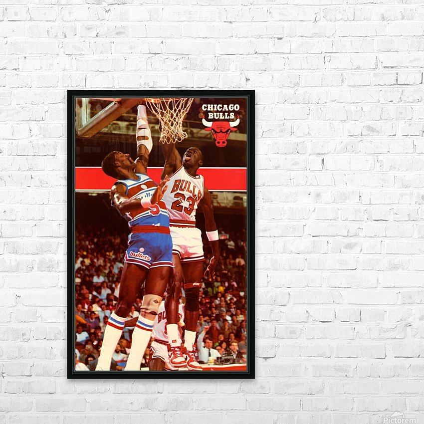1985 Michael Jordan Dunk Chicago Bulls Poster HD Sublimation Metal print with Decorating Float Frame (BOX)