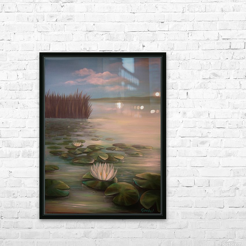 water lillies HD Sublimation Metal print with Decorating Float Frame (BOX)