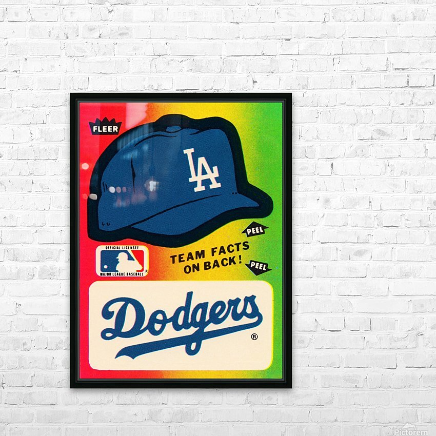 1983 fleer baseball stickers la dodgers ballcap art HD Sublimation Metal print with Decorating Float Frame (BOX)