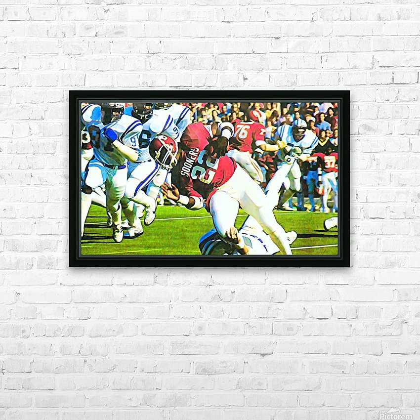 1982 Marcus Dupree Oklahoma Football Art HD Sublimation Metal print with Decorating Float Frame (BOX)