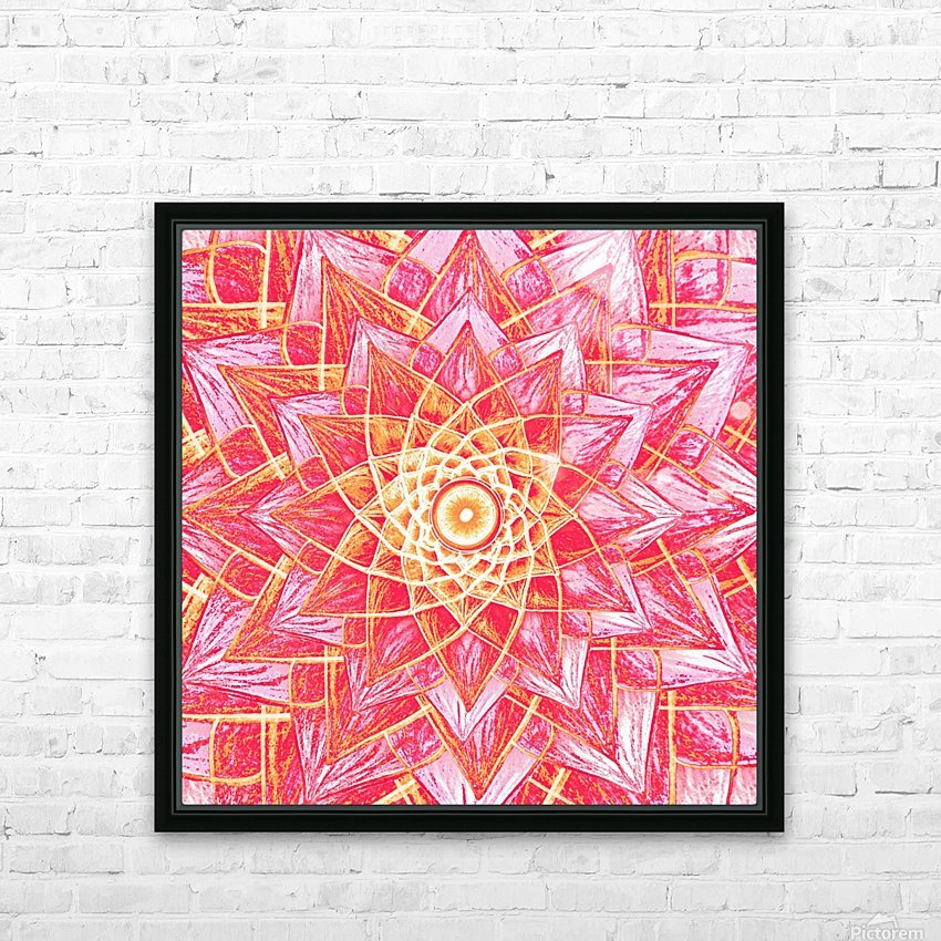 Red Flower Mandala Handdrawing  HD Sublimation Metal print with Decorating Float Frame (BOX)