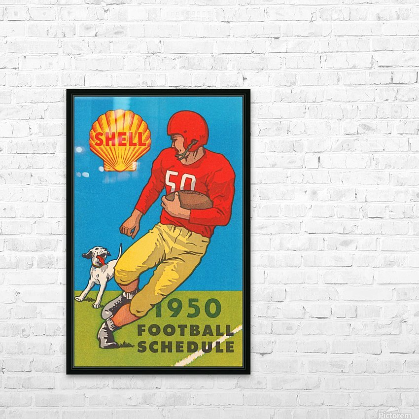 1950 shell oil football schedule poster HD Sublimation Metal print with Decorating Float Frame (BOX)
