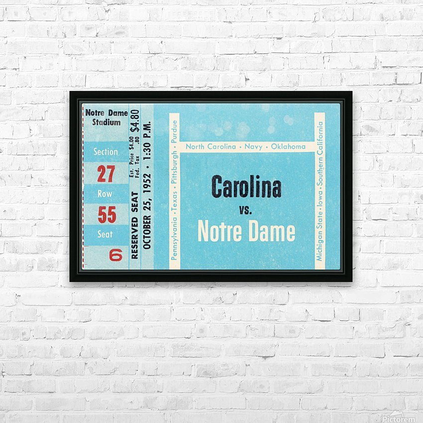 1952 north carolina tar heels notre dame irish college football sports ticket art south bend indiana HD Sublimation Metal print with Decorating Float Frame (BOX)