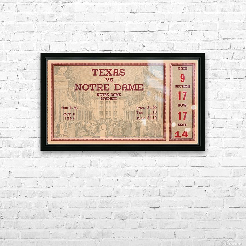 1934  Texas vs. Notre Dame HD Sublimation Metal print with Decorating Float Frame (BOX)