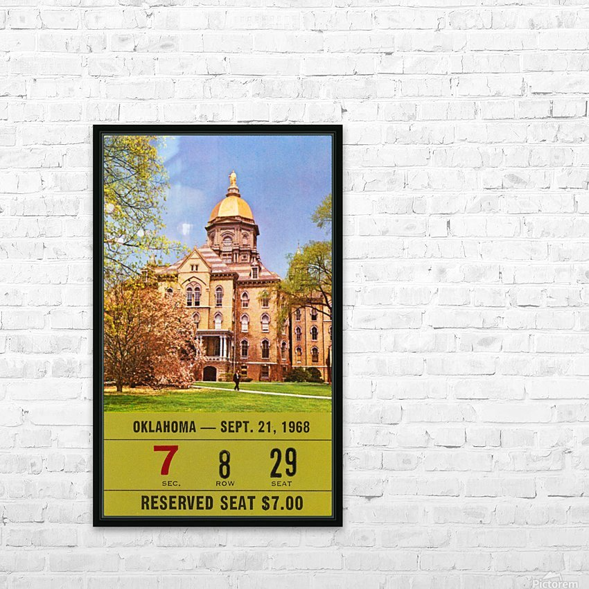 1968 oklahoma sooners notre dame college football south bend indiana sports tickets wall art HD Sublimation Metal print with Decorating Float Frame (BOX)
