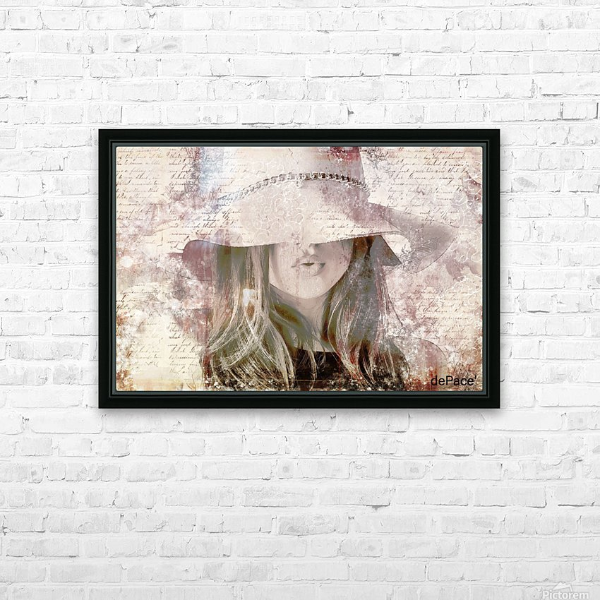 Lovely Girl with Hat on Vintage paper HD Sublimation Metal print with Decorating Float Frame (BOX)