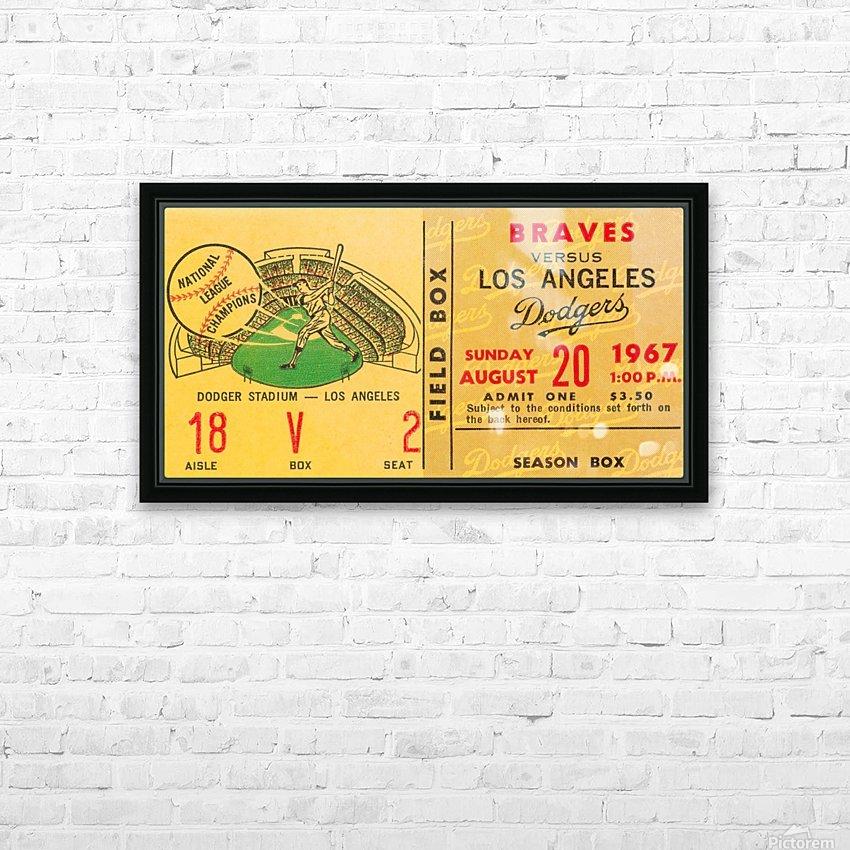 1967 la dodgers atlanta braves baseball sports ticket art  HD Sublimation Metal print with Decorating Float Frame (BOX)