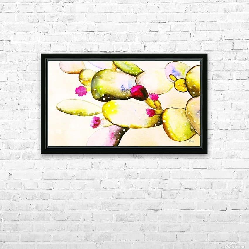 water color cactus flower HD Sublimation Metal print with Decorating Float Frame (BOX)
