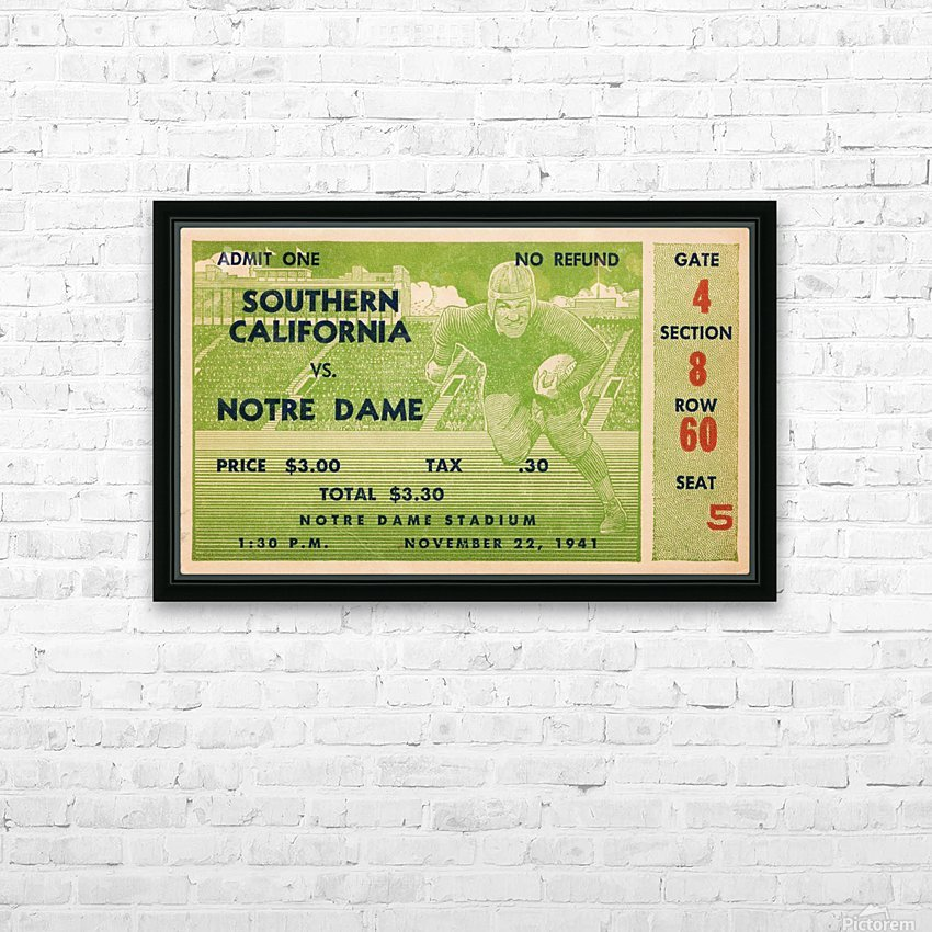 1941 usc notre dame football ticket wall art sports gift ideas south bend indiana HD Sublimation Metal print with Decorating Float Frame (BOX)