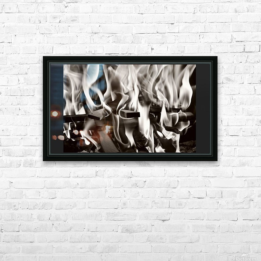 Black and white fire  HD Sublimation Metal print with Decorating Float Frame (BOX)