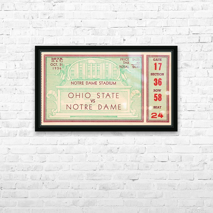1936 notre dame ohio state football ticket stub sports art HD Sublimation Metal print with Decorating Float Frame (BOX)