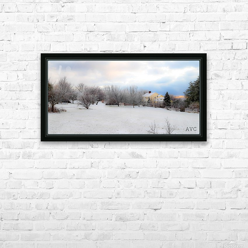Winter Cottage HD Sublimation Metal print with Decorating Float Frame (BOX)