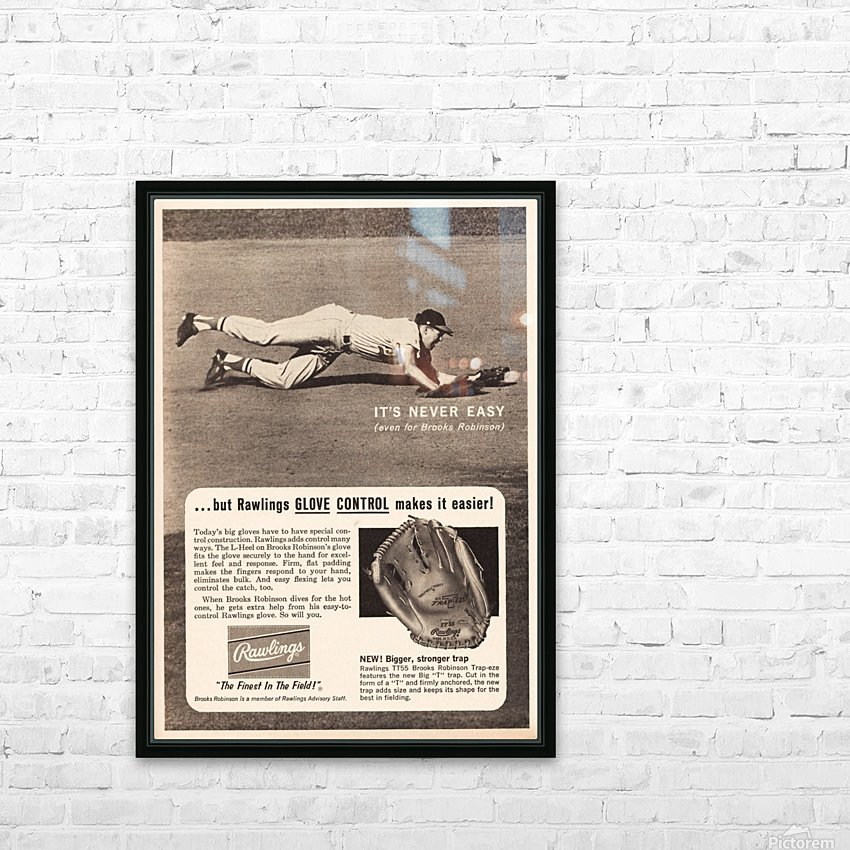 1963 brooks robinson rawlings baseball glove ad HD Sublimation Metal print with Decorating Float Frame (BOX)