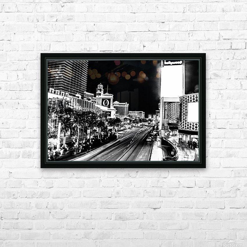 Las Vegas Night Shot B&W HD Sublimation Metal print with Decorating Float Frame (BOX)