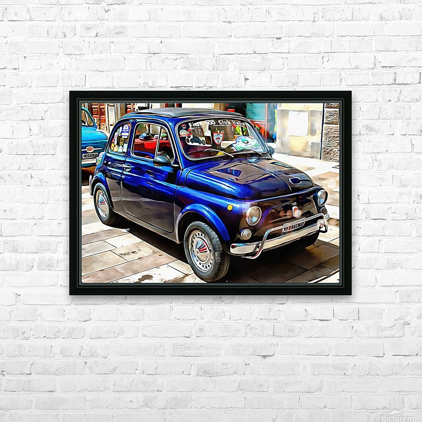 Fiat 500 Dark Blue Version HD Sublimation Metal print with Decorating Float Frame (BOX)