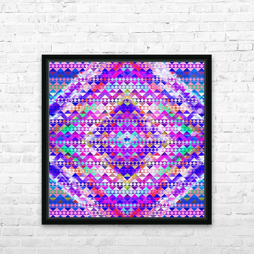 Mayan Pattern Blue HD Sublimation Metal print with Decorating Float Frame (BOX)