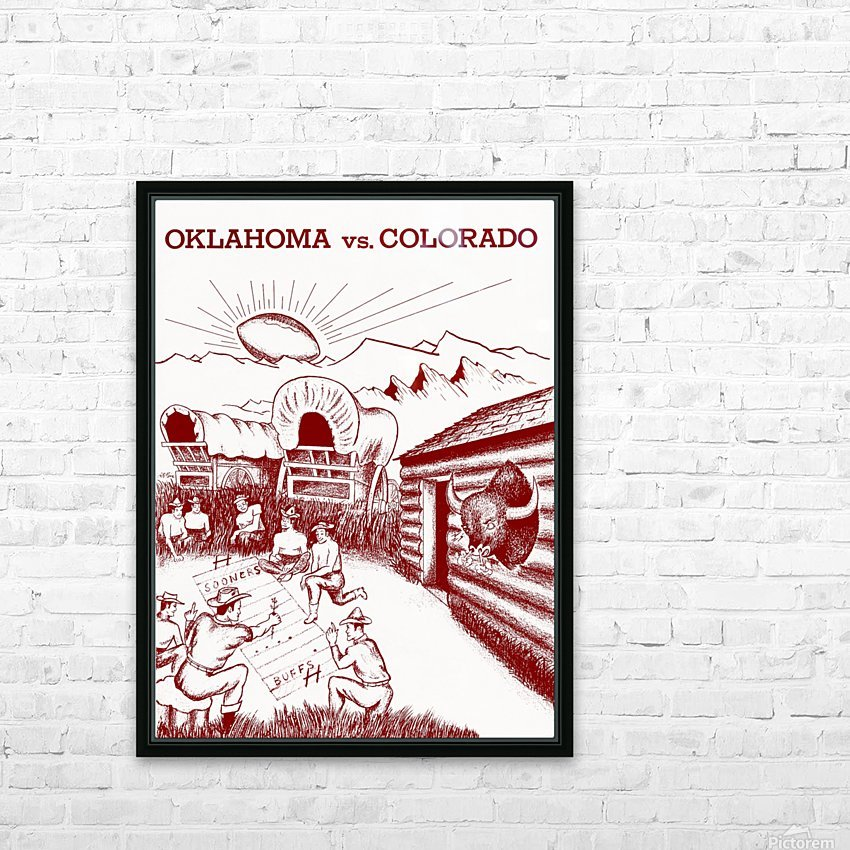 1954 oklahoma sooners colorado buffaloes football program canvas artwork HD Sublimation Metal print with Decorating Float Frame (BOX)