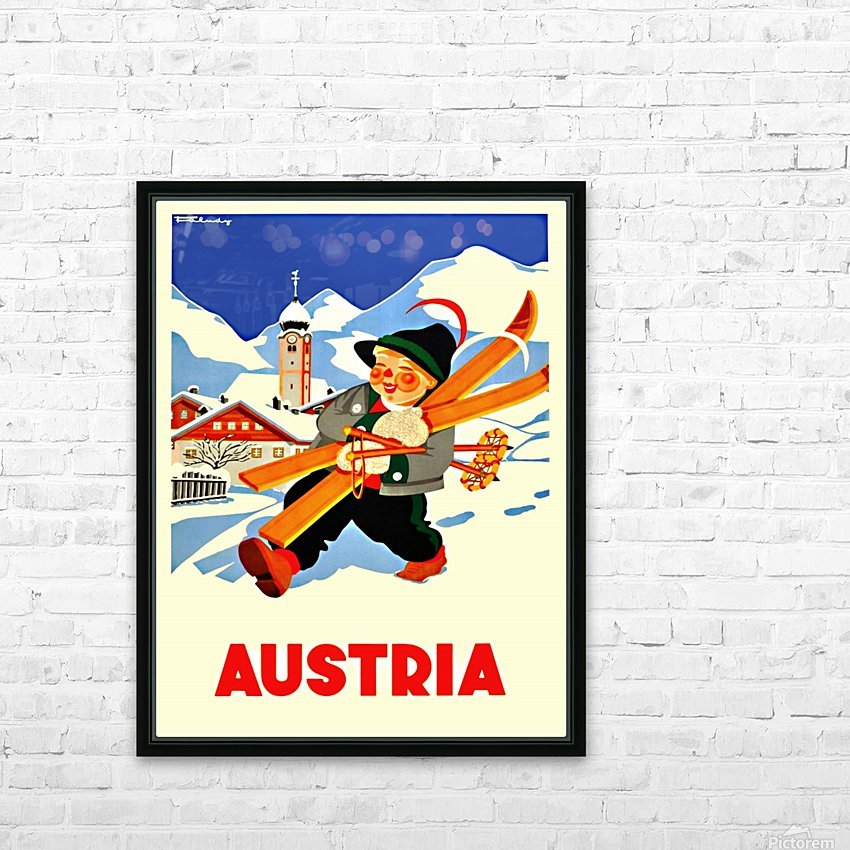 Little Skier from Austria HD Sublimation Metal print with Decorating Float Frame (BOX)