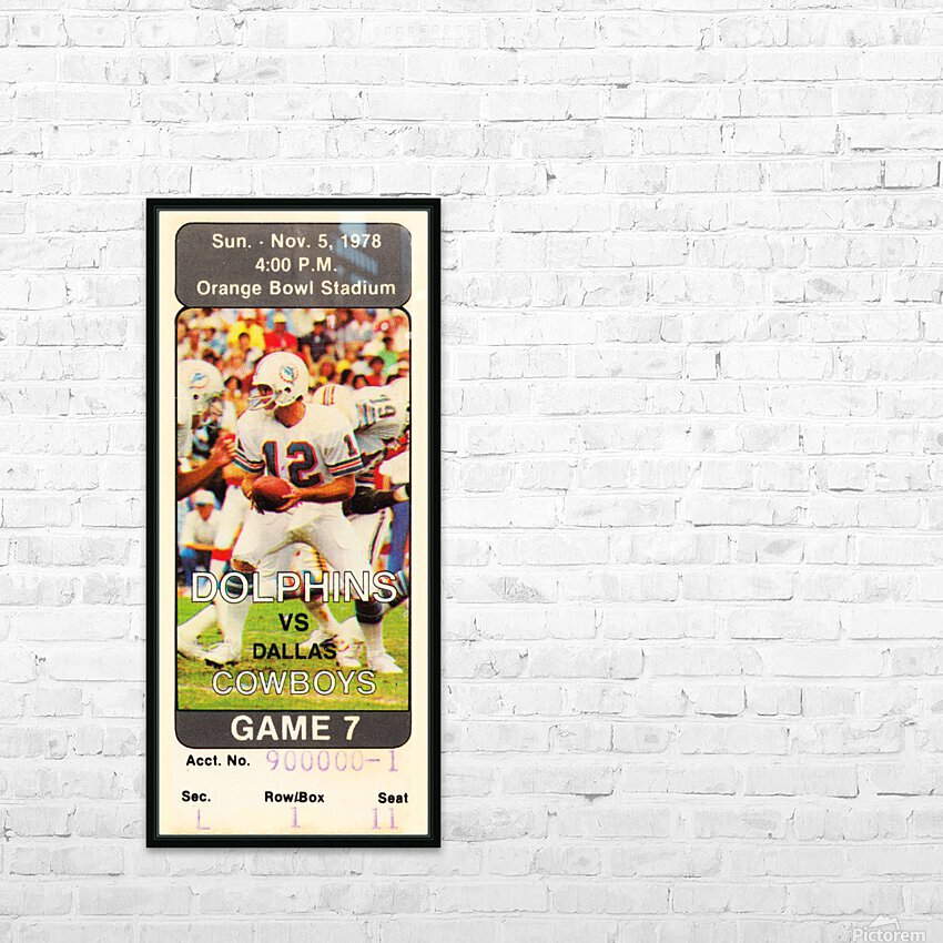 1978 miami dolphins dallas cowboys ticket art HD Sublimation Metal print with Decorating Float Frame (BOX)