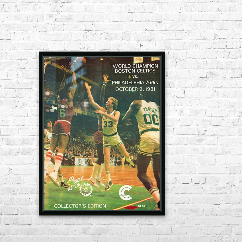 1981 boston celtics philadelphia 76ers larry bird art HD Sublimation Metal print with Decorating Float Frame (BOX)