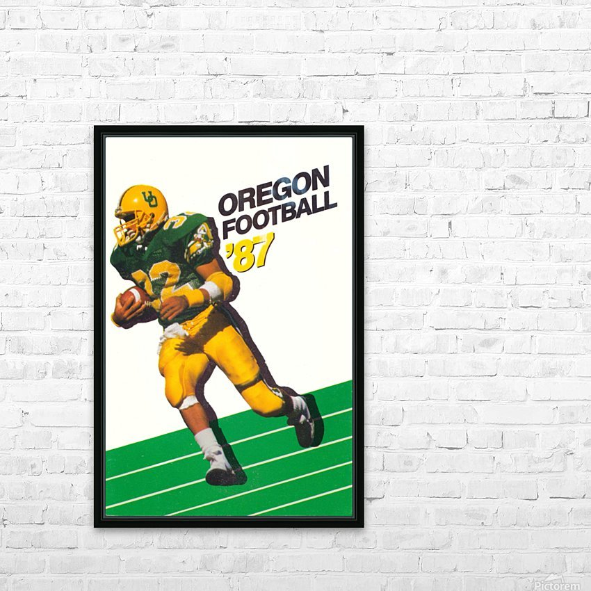 1987 oregon ducks retro football poster HD Sublimation Metal print with Decorating Float Frame (BOX)