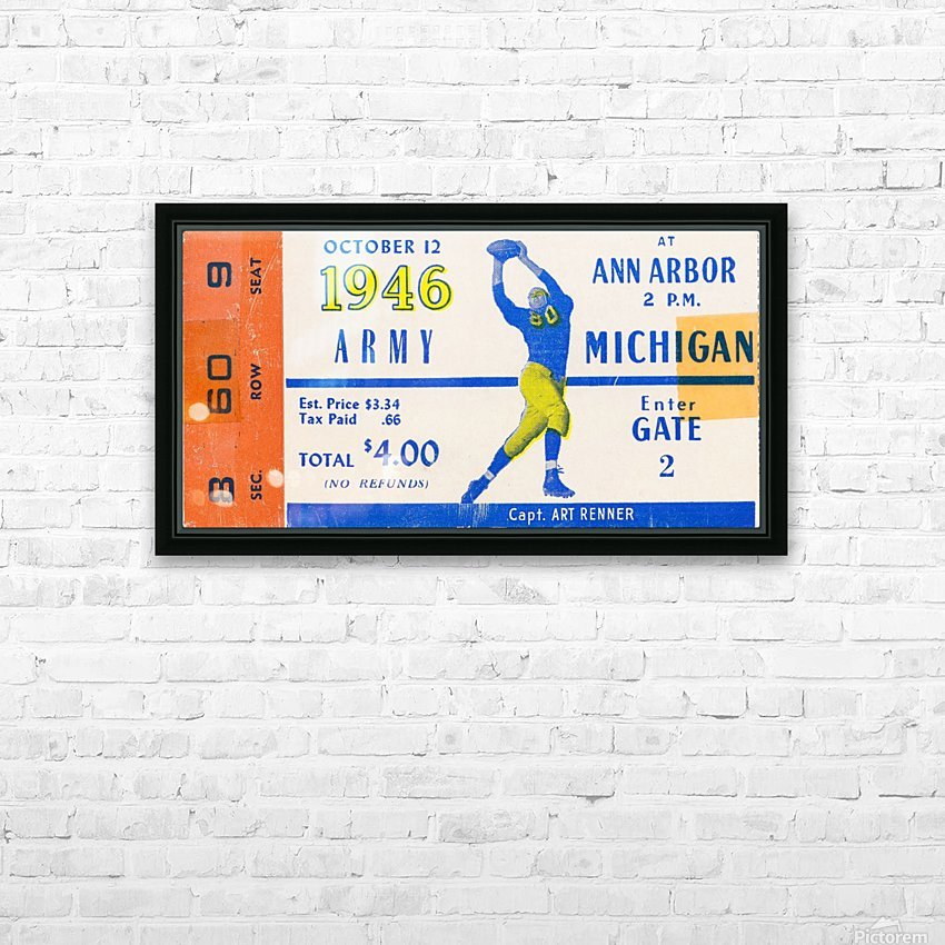 1946 michigan army ann arbor college football ticket art HD Sublimation Metal print with Decorating Float Frame (BOX)