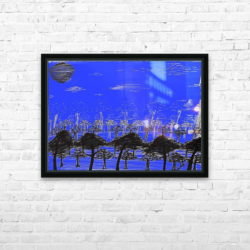 Trees vs sun blue HD Sublimation Metal print with Decorating Float Frame (BOX)
