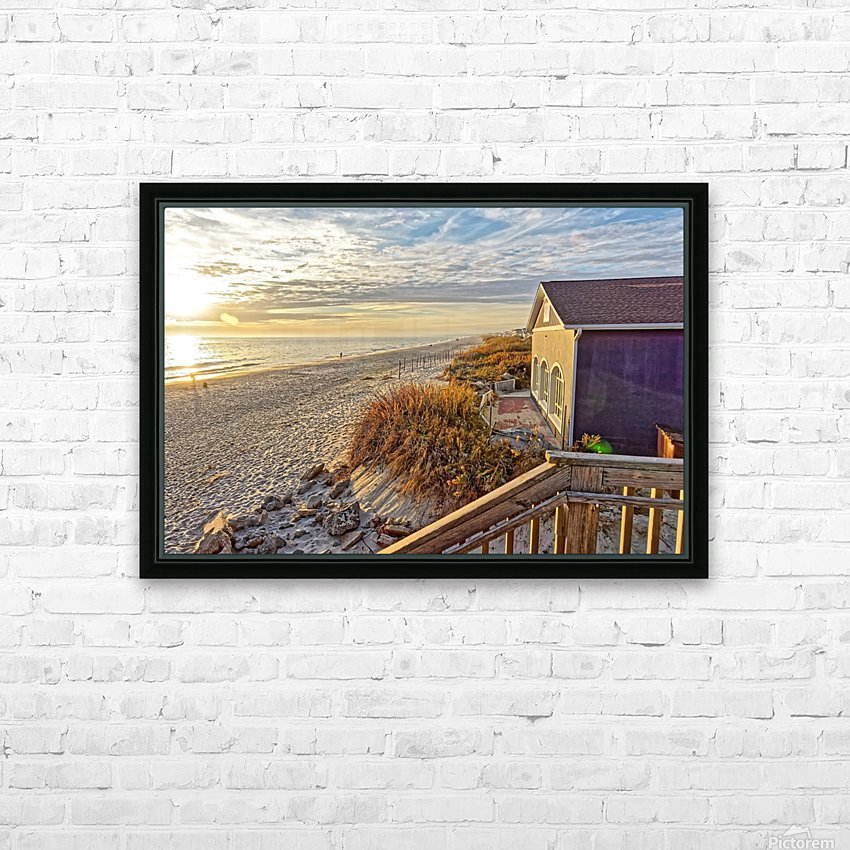 Oak Island Pier View HD Sublimation Metal print with Decorating Float Frame (BOX)