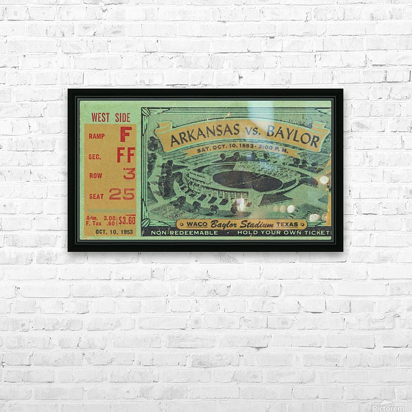 1953 arkansas baylor football ticket wall art HD Sublimation Metal print with Decorating Float Frame (BOX)