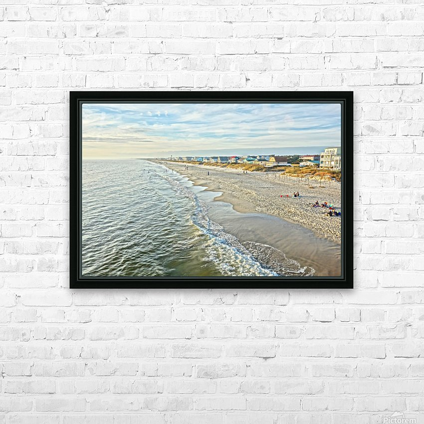 Oak Island Pier View2  HD Sublimation Metal print with Decorating Float Frame (BOX)