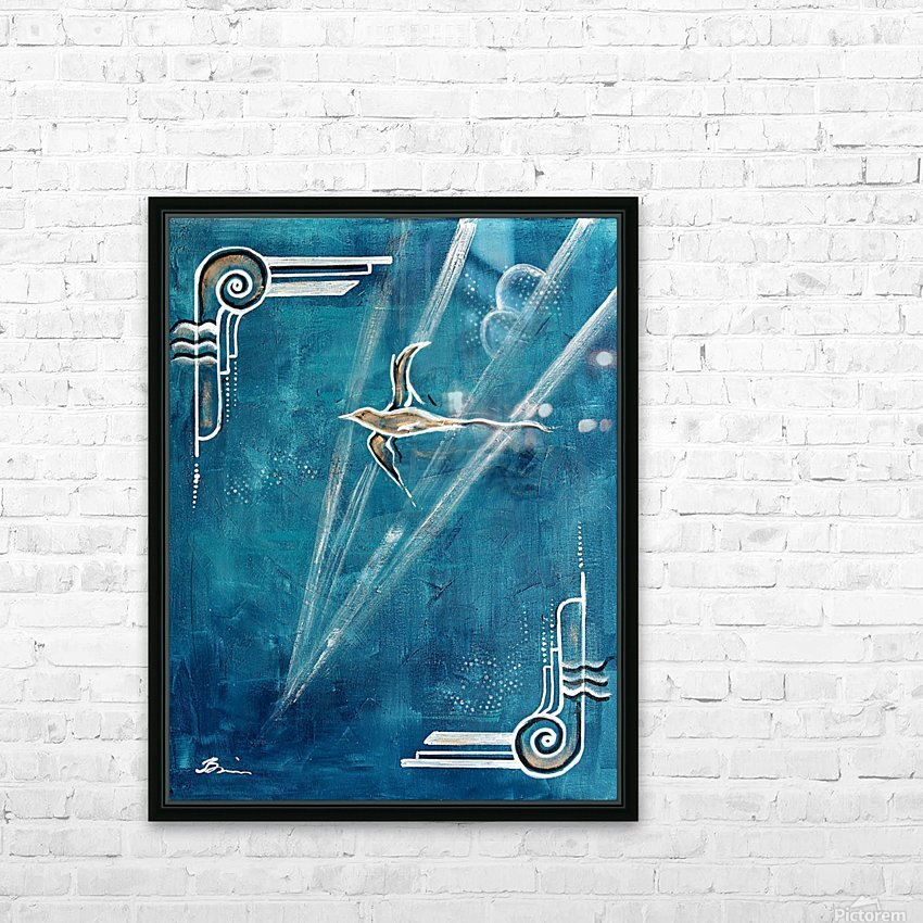 Art deco Swallow  HD Sublimation Metal print with Decorating Float Frame (BOX)