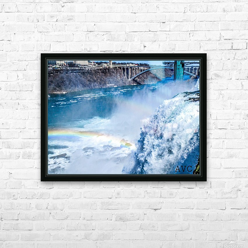 Waterfall Rainbow HD Sublimation Metal print with Decorating Float Frame (BOX)