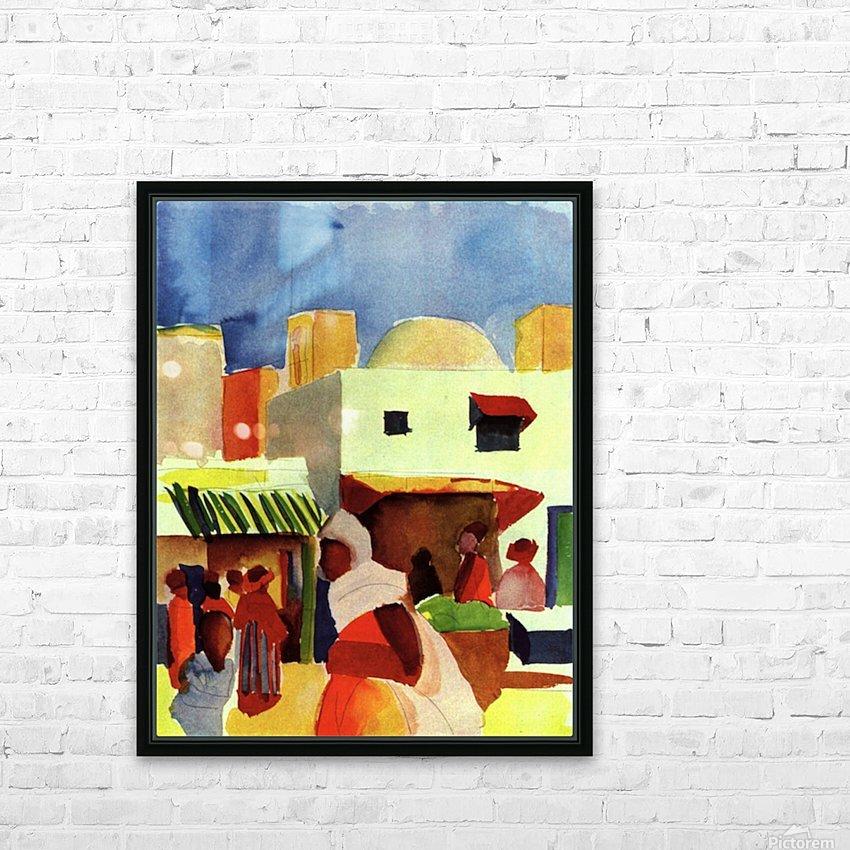 Market in Algier by Macke HD sublimation métal imprimé avec décoration flotteur cadre (boîte)