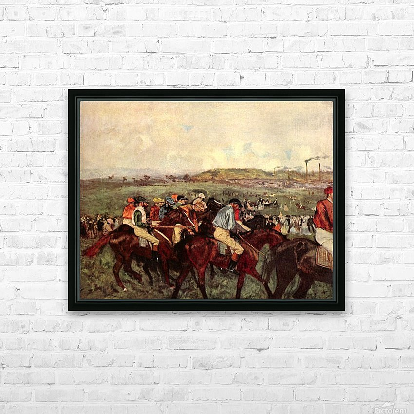 Men s riders before the start by Degas HD Sublimation Metal print with Decorating Float Frame (BOX)