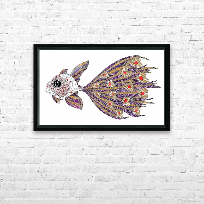 heart fish HD Sublimation Metal print with Decorating Float Frame (BOX)