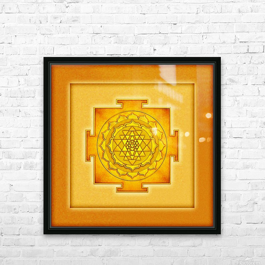Golden Sri Yantra III HD Sublimation Metal print with Decorating Float Frame (BOX)