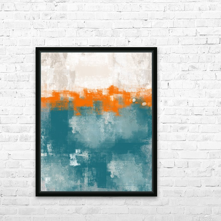 Blue Gray Orange Abstract DAP 20014 HD Sublimation Metal print with Decorating Float Frame (BOX)