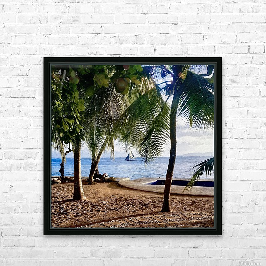 Sailboat And Palms HD Sublimation Metal print with Decorating Float Frame (BOX)