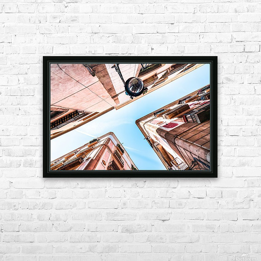Gothic Quarter El Raval Barcelona City Perspective View Downtown Barcelona Spain Travel Print Vintage Architecture HD Sublimation Metal print with Decorating Float Frame (BOX)