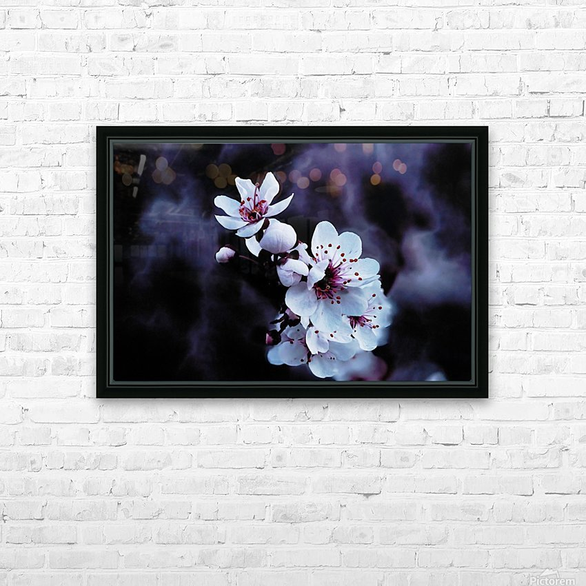 Night Flowers HD Sublimation Metal print with Decorating Float Frame (BOX)