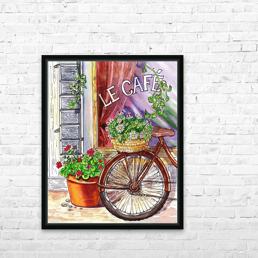 French Cafe And Bicycle With Basket HD Sublimation Metal print with Decorating Float Frame (BOX)