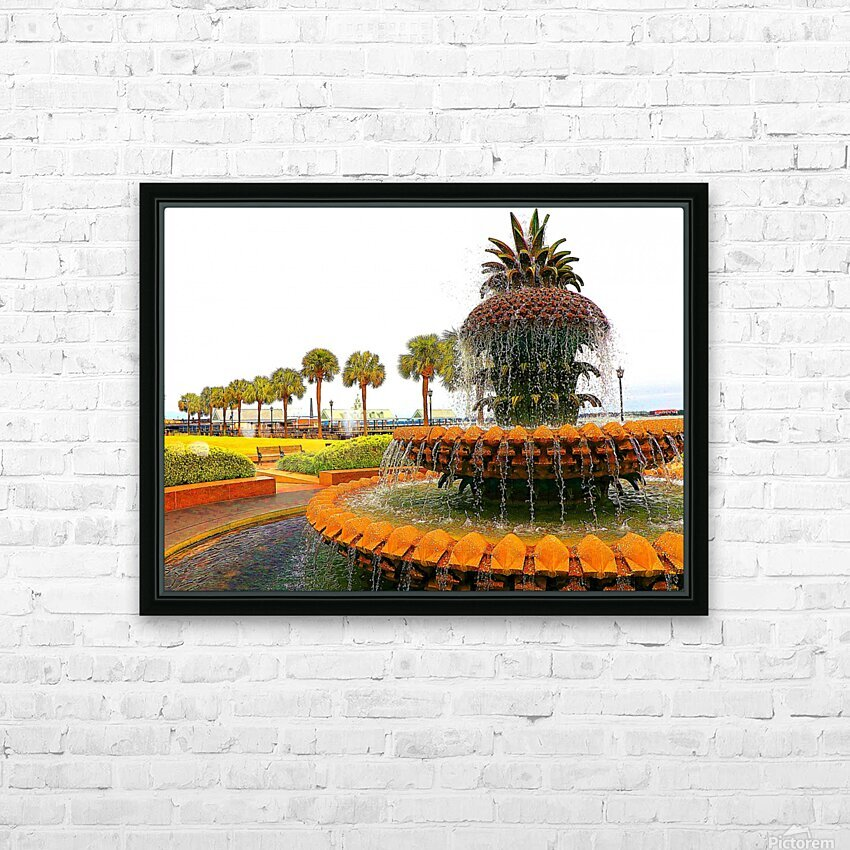 Pineapple Fountain - Charleston SC HD Sublimation Metal print with Decorating Float Frame (BOX)
