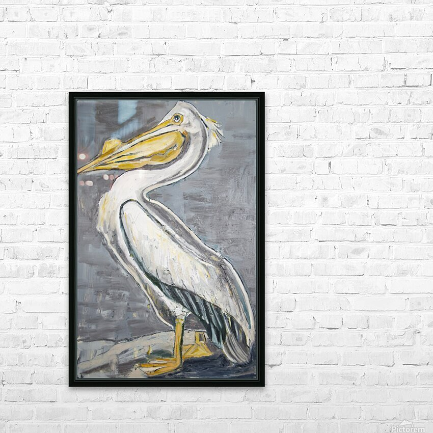 Louisiana White Pelican with Metallic Silver HD Sublimation Metal print with Decorating Float Frame (BOX)
