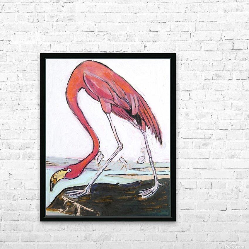 Louisiana Flamingo Study on Wood HD Sublimation Metal print with Decorating Float Frame (BOX)
