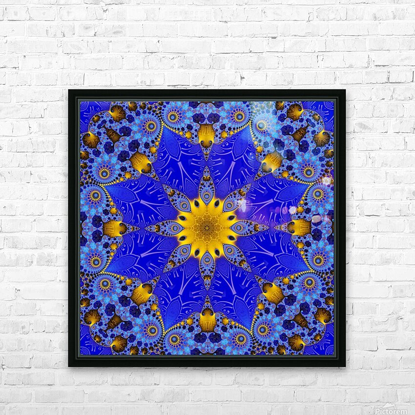 Golden Compass Mandala HD Sublimation Metal print with Decorating Float Frame (BOX)