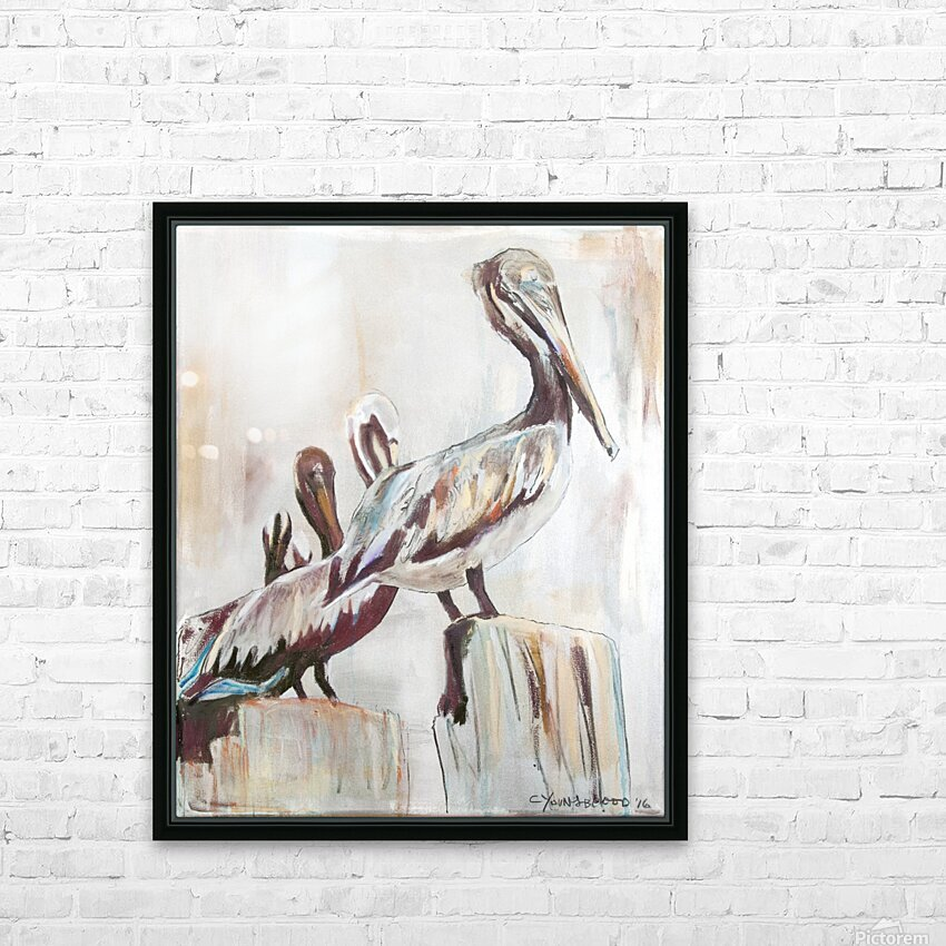 Louisiana Pelicans in the Fog with Metallic Silver HD Sublimation Metal print with Decorating Float Frame (BOX)