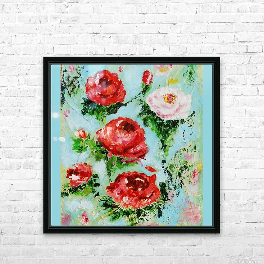 Roses on Aqua HD Sublimation Metal print with Decorating Float Frame (BOX)